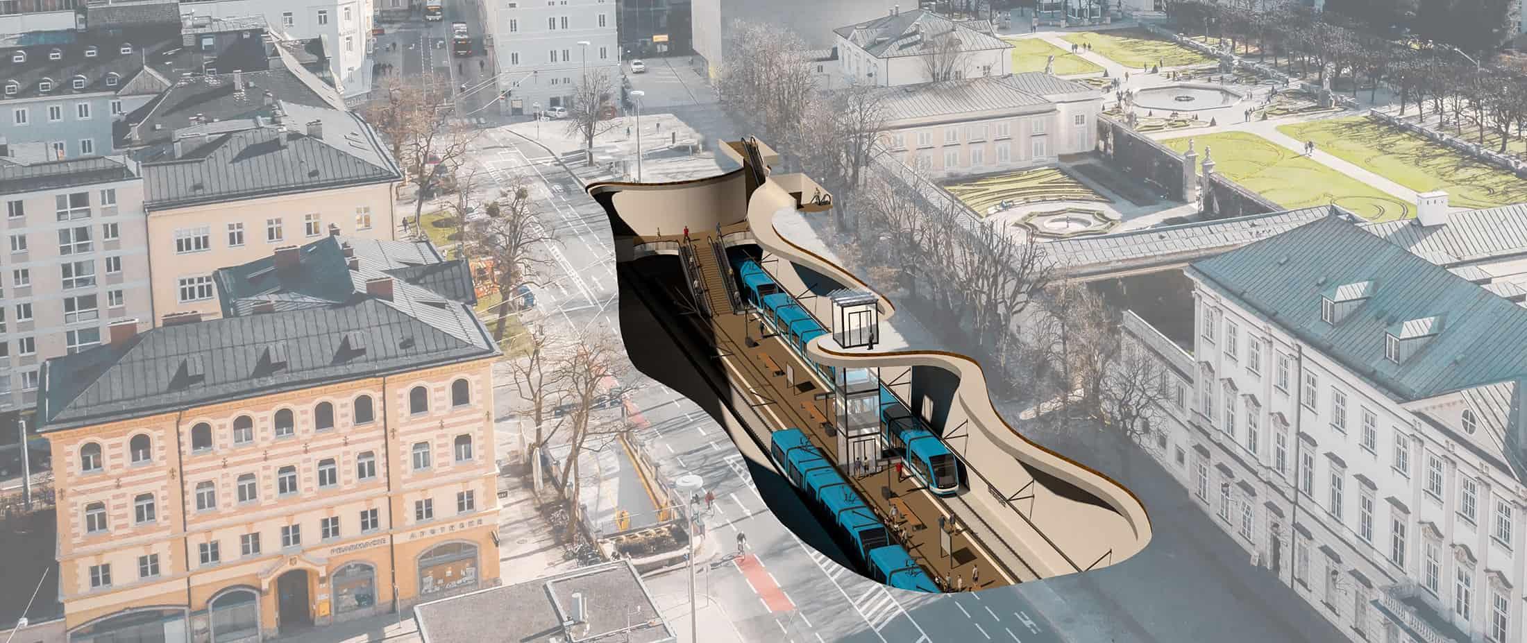 Das erste konkrete S-LINK Projekt: Die Lokalbahn wird unterirdisch bis zum Mirabellplatz verlängert.