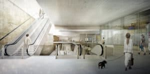 S-LINK Station Mirabellplatz, Entwurf des Architektenbüros dunkelschwarz ZT OG