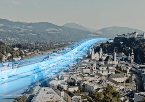Ungefährer Streckenverlauf des S-Link durch die Salzburger Altstadt in Richtung Hallein